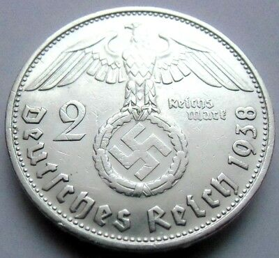 (542)WWII German 2 Mark  - 1938 B  -  Silver -  Coin  BIG SWASTIKA
