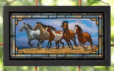 Stampede of Wild Horses Stained Glass Art Hanging Panel