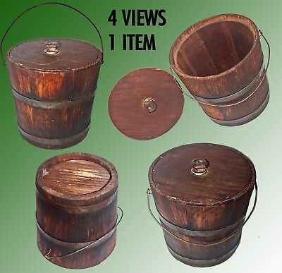 """Antique Small Wood Bucket With Bail Handle & Cover Known To Me As A""""lard Bucket"""""""