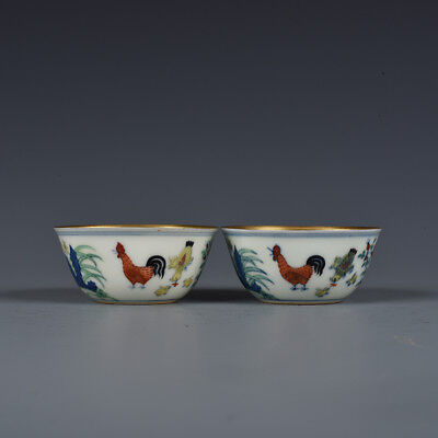 A Pair China old antique Porcelain Ming Chenghua famille rose gilt Chicken Cup