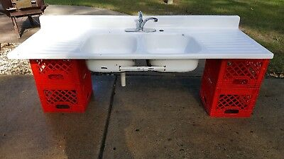 Vintage Farmhouse Sink Kitchen Double Drain Board Double Sink Porcelain