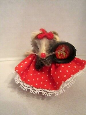 "Vintage W. German Real Fur Mouse with Frying Pan. Mini 2"" tall. Red dot dress"