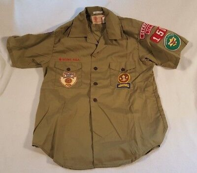 Vtg Boy Scouts Of America Short Sleeve Shirt Uniform Patches 1980 Deerfield IL