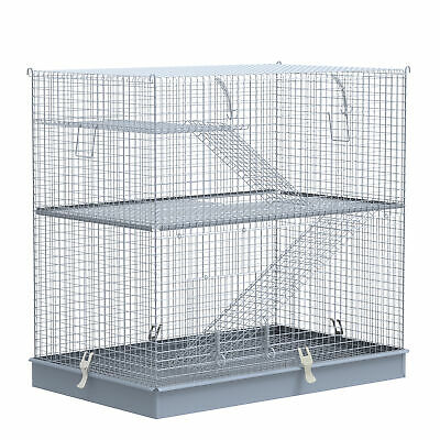 PawHut 3-Level Hamster Cage Small Animal Rat Pet Hutch Easy Clip Base Ladder