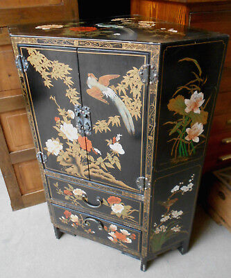 Vintage Decorative Floral Birds Wood CORNER Cabinet Handpainted Asian  #189