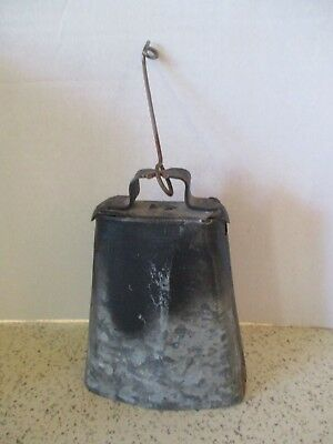 Large Vintage Cow Bell, Galvanized Tin, Great Sound, Classic Country Look