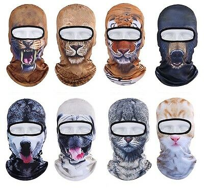 3D Animal Dog Cat Thin Full Face Mask Ski Snowboard Balaclava Beanie Winter Hat