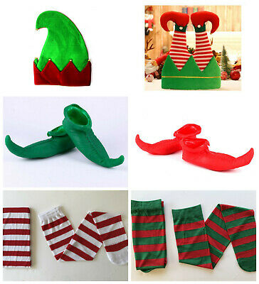 Red Elf Shoes Shiny Cloth Costume Christmas Xmas Adult Jester