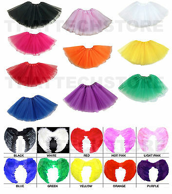 Adult Feather Angel Fairy Wings TuTu Costume Hens 1980s Party Sports Carnival