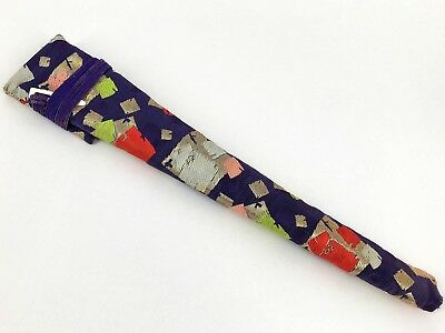 Vintage Japanese Geisha Odori Maiogi Folding Dance Fan Brocade Case: Nov18-B