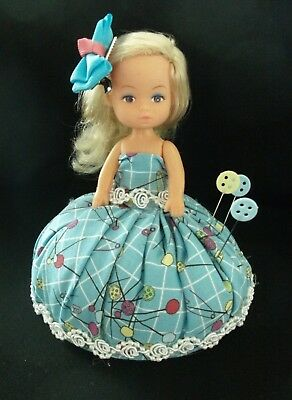 Unique handmade pin cushion pin keep sewing gift OOAK vintage doll #4 blonde