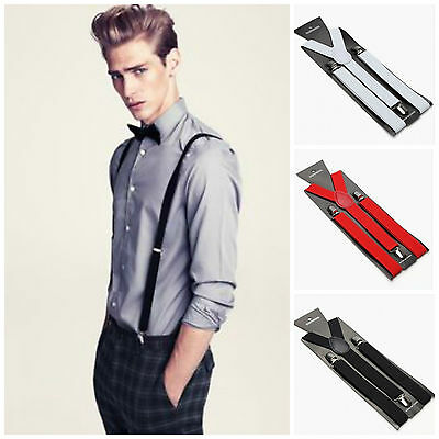 Mens Clip On Adjustable Stylish Suspenders Braces Unisex Y-Back Black Red White
