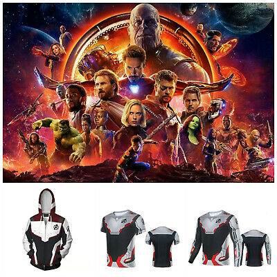 Avengers Endgame Quantum Realm Costume Cosplay Hoodie T-Shirt Compression Top