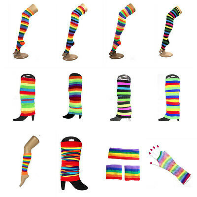 Rainbow Leg Warmers Over the Knee Socks Stockings Mardi Gras Lesbian Gay Pride