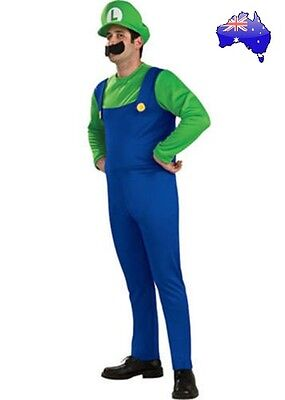 Mens Adult Super Mario Brothers Luigi Fancy Dress Dress up Plumber Costume