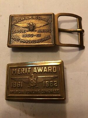 Vintage American Bowling Congress Belt Buckle Lot Of 2