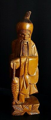 Antique 1 foot tall Carved Wood Shou Lao carrying Fish - Longevity Statue
