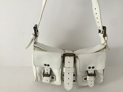 MULBERRY Authentic White Pebbled Leather Buckle Flap Satchel Shoulder M S  bag 071cbe54526be
