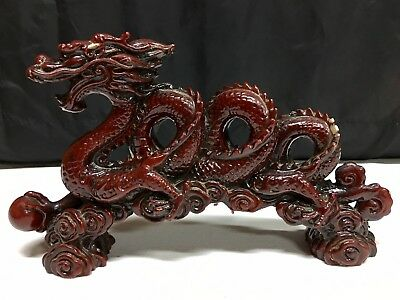 """Red Brown Ceramic Resin Asian Style Dragon Figurine 12"""" Long X 7"""" Tall"""