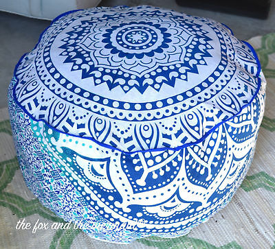 Indian Pretty Ombre Mandala Ottoman Pouffe Foot Stool Round Floor Pouf