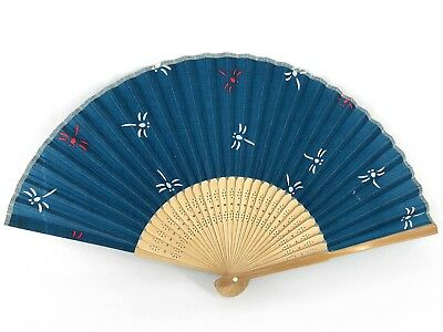 Vintage Japanese 'Sensu' Summer Dragonfly Design Fabric Folding Fan: Nov18J