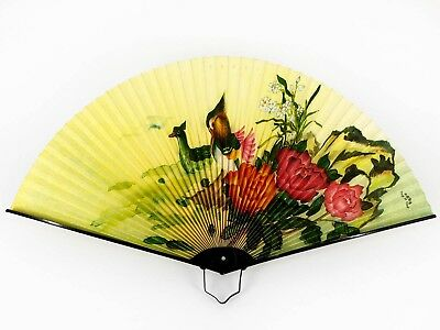 Vintage Chinese Wood Ducks & Floral Design Folding Fan: Nov18-I