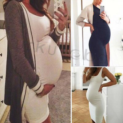 Women's Maternity Bodycon Dress Casual Cotton Stretch Sleeveless Midi Dress