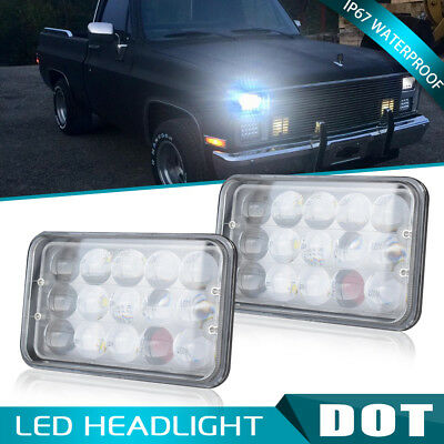 """4D 4""""x6"""" LED Headlights Replace H4656/4651 For GMC Jimmy Sonoma / Chevrolet DOT"""