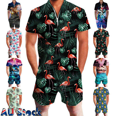 Mens Print Romper Casual Zip Outfit Shorts Cargo Pants Jumpsuit Overalls Costume