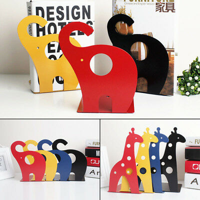 1 Pair Cartoon Bookends Nonskid Iron Hollow Books Shelf School Office Home Tool