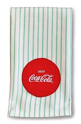 Enjoy Coca Cola Coke Mint Green Stripe Kitchen Tea Towel Licensed Design