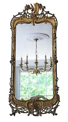 Antique large quality C1800 Georgian tall ebonised and gilt hall wall mirror