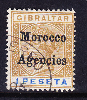 MOROCCO AGENCIES QV 1899 SG15 1p of Gibraltar opt type 2 very fine used cat £48