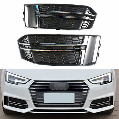 L+R Front Bumper Grille Fog Light Grill Chrome Cover For Audi A4 B9 16-18 S-LINE