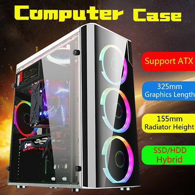 For ATX USB 3.0 Gaming Computer Case Cover Side Translucent 5 Fans Chassis