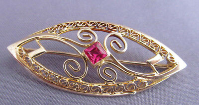 Antique Art Deco Victorian 10K Gold Filigree Princess Spinel Ruby Marquise Pin
