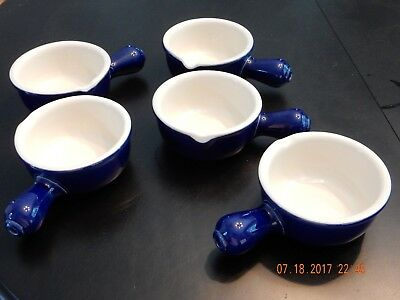 Hall Pottery Ceramic Soup Bowl with Handle and pouring spout, Blue