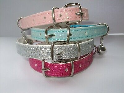 Glitter cat collar , safety elastic buckle , bell , sparkly kitten bling