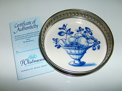 Westraven Handmade Delftware Coaster - Fruit Bowl Theme - Blue & White - Boxed