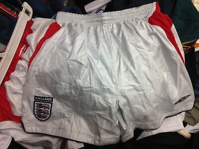 England Shorts2004/6 Away Silver/red 24 26 28   Inch At £9 Each
