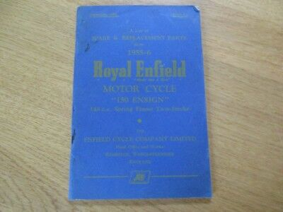 Catalogue Pieces Detachees  Moto Royal Enfield Ensign  150 Spring Frame 1955