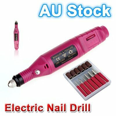 Electric Nail Drill Bits 6 File Tool Machine Acrylic Art Manicure Pen Shaper V6