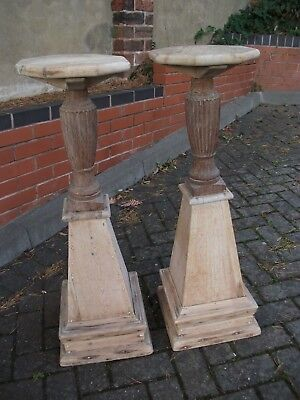 Pair of Unusual/Vintage Wooden Pedestal Stands for Lamp/Pot/Plants (Stripped|).