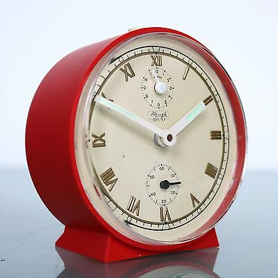 KIENZLE German Alarm CLOCK Mantel TOP! Red/White Mid Century Vintage Space Age!