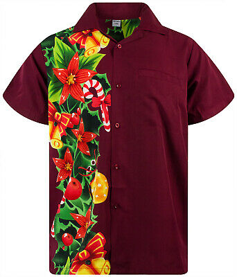 Funky Hawaii camicia shirt DI NATALE CHRISTMAS MUSICA BLU HAWAII