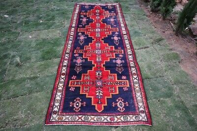 Antique Floral Pattern Turkish Anatolian Blue With Red Color Extra Large Runner