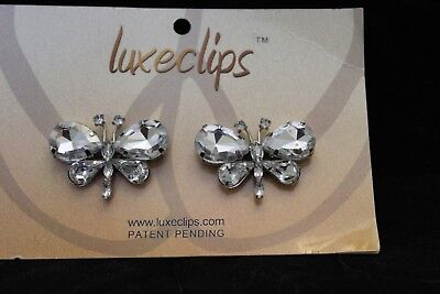 1 Pair Butterfly Rhinestone Shoe Clips Accessory Never Used