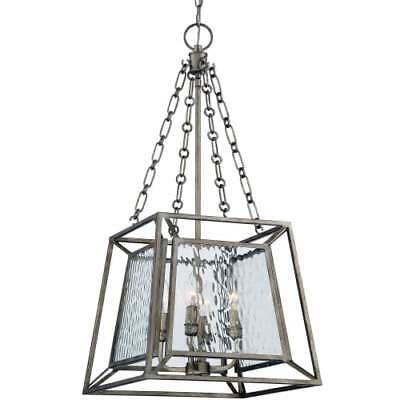 """Quoizel LKE5204VG Lakeside 4-Light 15"""" Wide Chandelier with Glass Square Shade"""