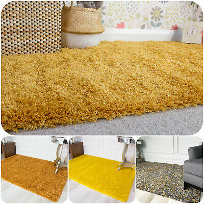 Cosy Thick Soft Yellow Shaggy Rug Fluffy Mustard Ochre Non Shed Living Room Rugs