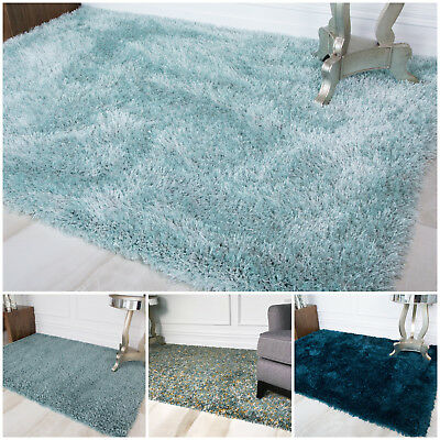 Cosy Thick Soft Blue Shaggy Rug Fluffy Duck Egg Teal Non Shed Living Room Rugs